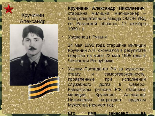 Кручинин Александр Николаевич Кручинин Александр Николаевич, старшина милиции...