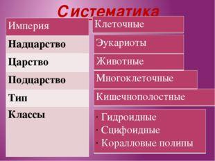 Систематика Империя Надцарство Царство Подцарство Тип Классы Гидроидные Сцифо