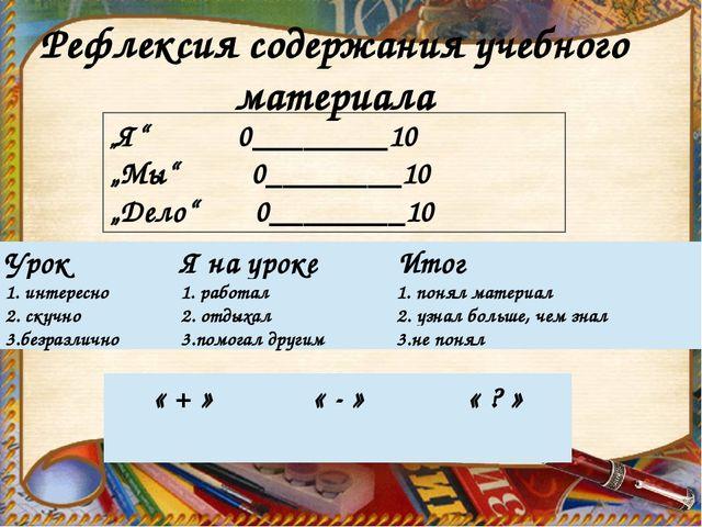 """""""Я"""" 0________10 """"Мы"""" 0________10 """"Дело"""" 0________10 Рефлексия содержания учеб..."""
