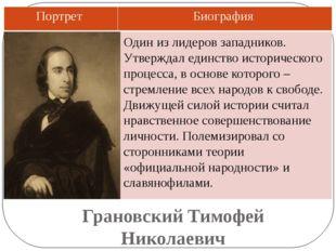 Грановский Тимофей Николаевич Один из лидеров западников. Утверждал единство