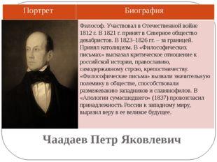 Чаадаев Петр Яковлевич Философ. Участвовал в Отечественной войне 1812 г. В 18