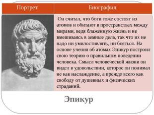 Эпикур Он считал, что боги тоже состоят из атомов и обитают в пространствах