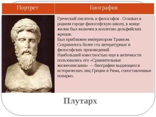 Плутарх Греческий писатель и философов . Основал в родном городе философскую