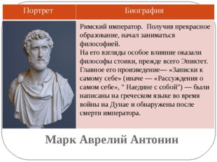 Марк Аврелий Антонин Римский император. Получив прекрасное образование, начал