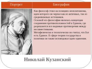 Николай Кузанский Как философ стоял на позициях неоплатонизма, идеи которого