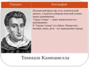 Томмазо Кампанелла Итальянский философ, поэт, политический деятель. Создатель