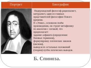 Б. Спиноза. Нидерландский философ-рационалист, натуралист, один из главных пр