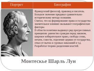 Монтескье Шарль Луи Французский философ, правовед и писатель. Большое значени