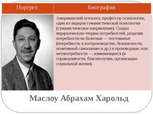 Маслоу Абрахам Харольд Американский психолог, профессор психологии, один из л