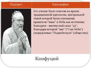 Конфуций Его учение было ответом на кризис традиционной идеологии, центрально