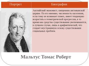 Мальтус Томас Роберт Английский экономист, священник англиканской церкви. По