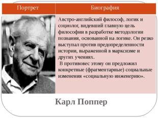 Карл Поппер Австро-английский философ, логик и социолог, видевший главную цел