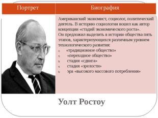 Уолт Ростоу Американский экономист, социолог, политический деятель. В историю