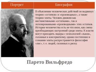 Парето Вильфредо В объяснении человеческих действий он выдвинул теорию «остат