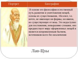 Лао-Цзы В основе его философии естественный путь развития и уничтожения вещей