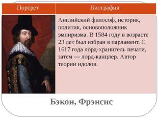 Бэкон, Фрэнсис Английский философ, историк, политик, основоположник эмпиризма