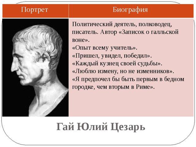 Гай Юлий Цезарь Политический деятель, полководец, писатель. Автор «Записок о...
