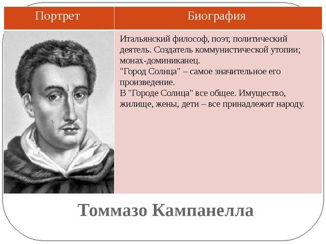 Томмазо Кампанелла Итальянский философ, поэт, политический деятель. Создатель...