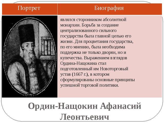 Ордин-Нащокин Афанасий Леонтьевич являлся сторонником абсолютной монархии. Бо...