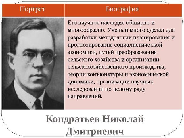 Кондратьев Николай Дмитриевич Его научное наследие обширно и многообразно. Уч...