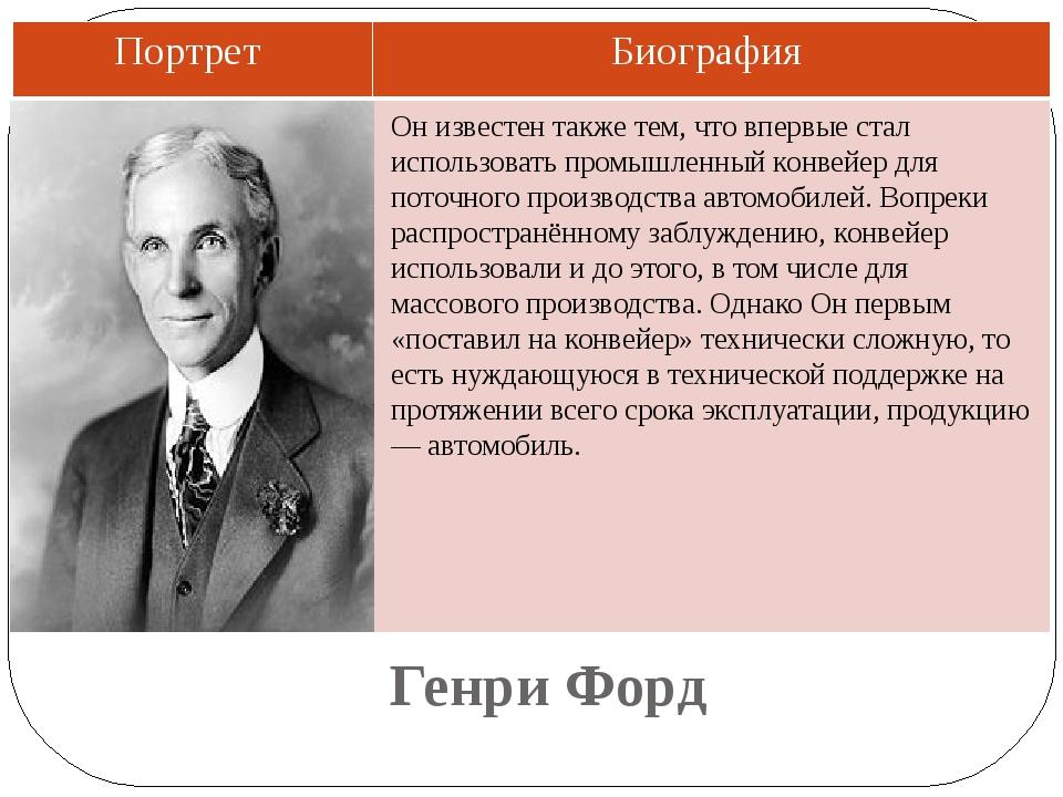 Генри Форд Он известен также тем, что впервые стал использовать промышленный...