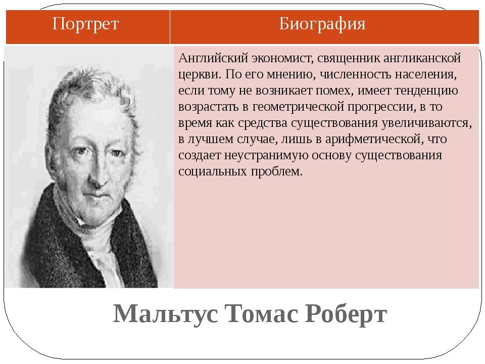 Мальтус Томас Роберт Английский экономист, священник англиканской церкви. По...