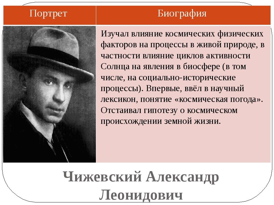 Чижевский Александр Леонидович Изучал влияние космических физических факторов...