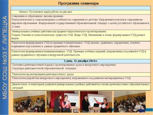 МБОУ СОШ №33 Г. ЛИПЕЦКА Программа семинара 1 день. 11 декабря 2014 г. Начало.