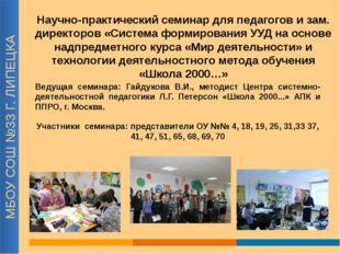 МБОУ СОШ №33 Г. ЛИПЕЦКА Научно-практический семинар для педагогов и зам. дире