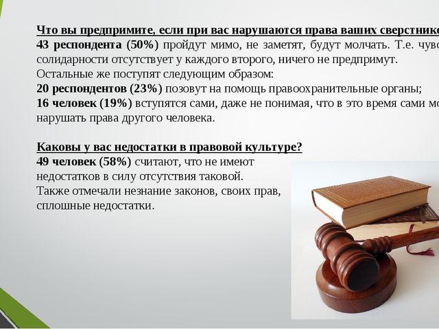 Что вы предпримите, если при вас нарушаются права ваших сверстников? 43 респо...