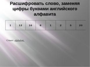 Расшифровать слово, заменяя цифры буквами английского алфавита
