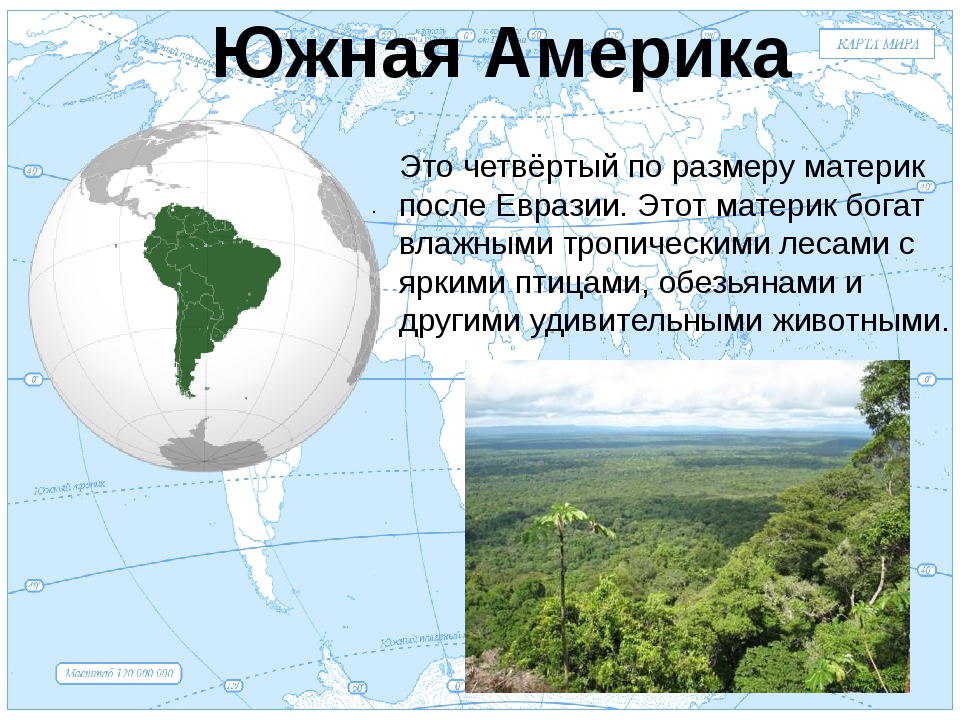 Евразия . Южная Америка Это четвёртый по размеру материк после Евразии. Этот...
