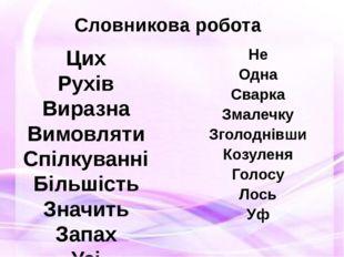 Словникова робота Цих Рухів Виразна Вимовляти Спілкуванні Більшість Значить З