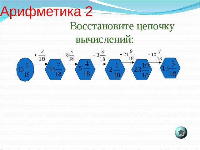 Восстановите цепочку вычислений: Арифметика 2