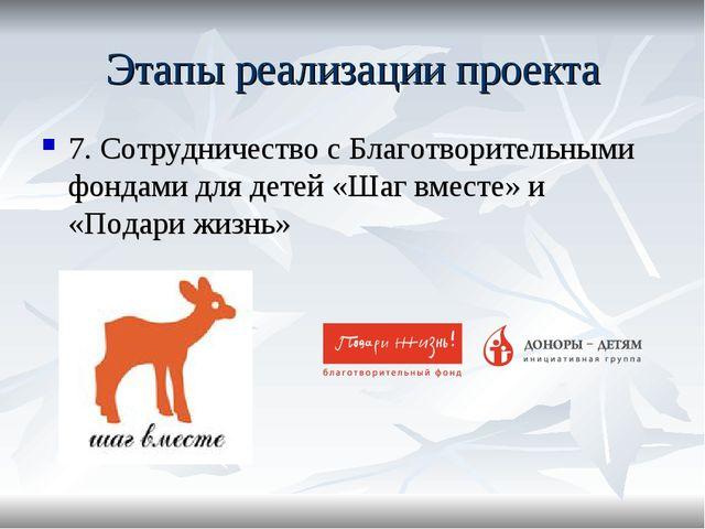 Этапы реализации проекта 7. Сотрудничество с Благотворительными фондами для д...