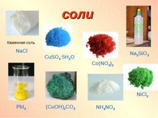соли Co(NO3)2 Na2SiO3 Каменная соль NaCl