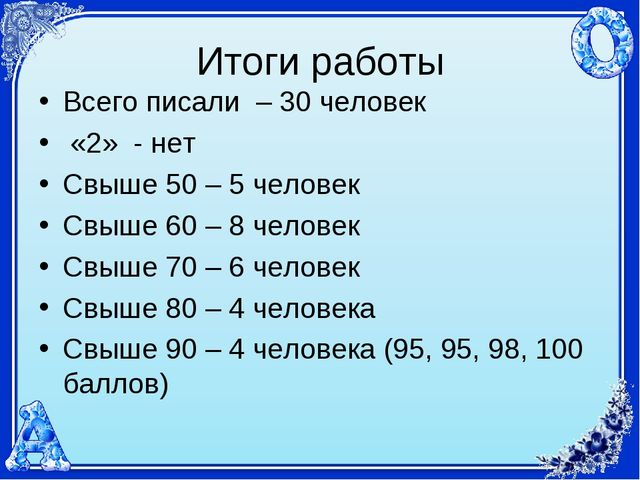 Итоги работы Всего писали – 30 человек «2» - нет Свыше 50 – 5 человек Свыше 6...