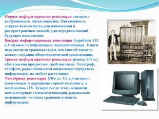 Первая информационная революция связана с изобретением письменности. Письмен