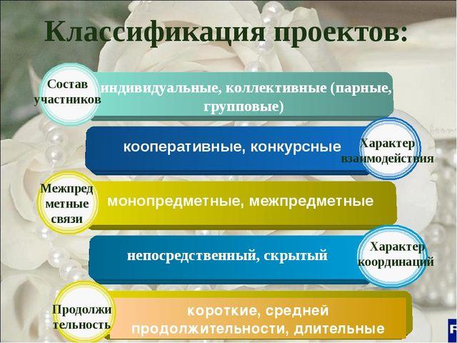 Классификация проектов: индивидуальные, коллективные (парные, групповые)