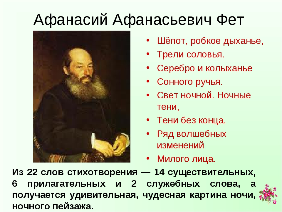 Афанасий Афанасьевич Фет Шёпот, робкое дыханье, Трели соловья. Серебро и колы...