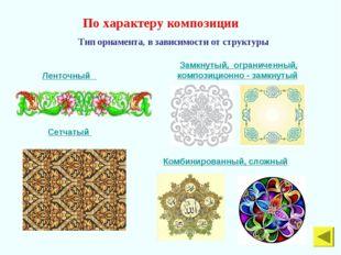 По характеру композиции Тип орнамента, в зависимости от структуры Ленточный З