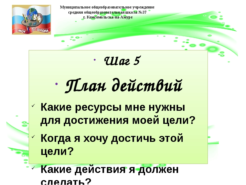 Шаг 5 План действий Какие ресурсы мне нужны для достижения моей цели? Когда я...