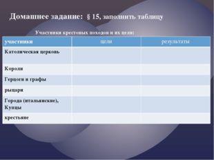 Домашнее задание: § 15, заполнить таблицу Участники крестовых походов и их це