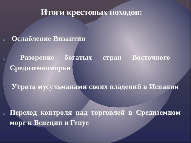 Итоги крестовых походов:  Ослабление Византии Разорение богатых стран Восточ...
