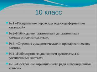 10 класс №1 «Расщепление пероксида водорода ферментом каталазой» №2«Наблюдени