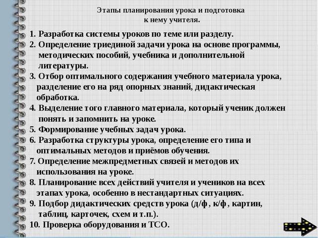Этапы планирования урока и подготовка к нему учителя. 1. Разработка системы...