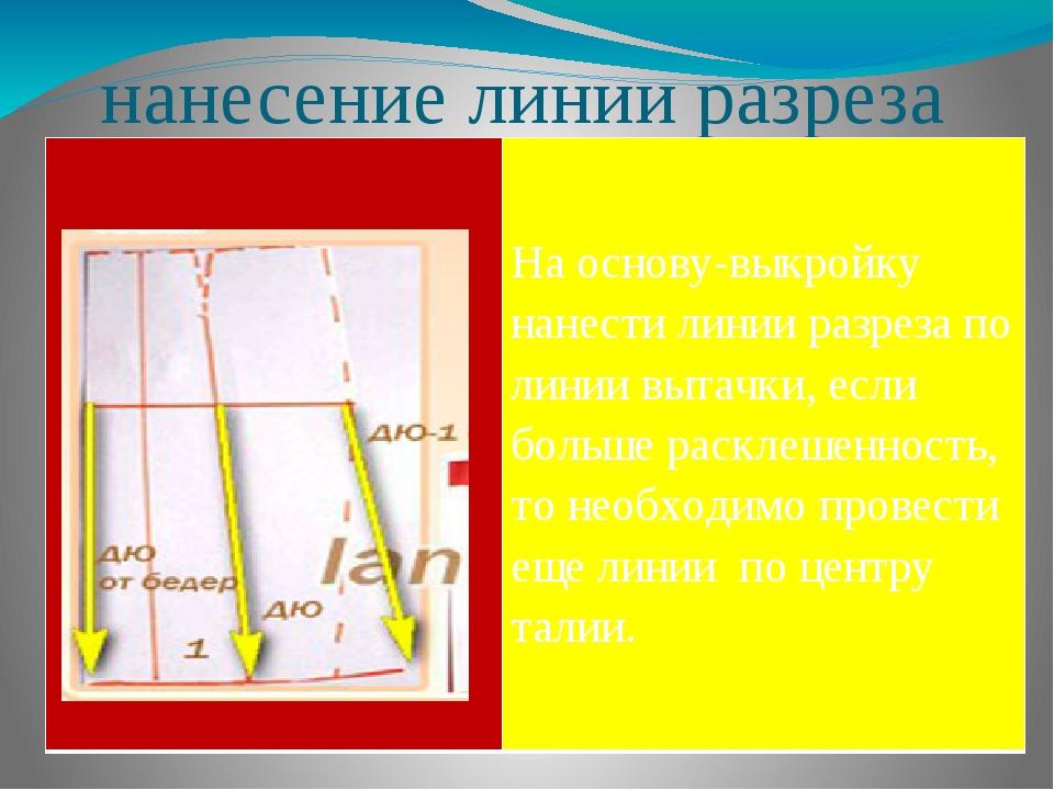 нанесение линии разреза На основу-выкройку нанести линии разреза по линии вы...