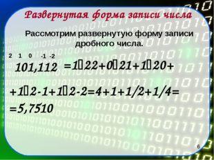 Развернутая форма записи числа 101,112 2 1 0 Рассмотрим развернутую форму зап