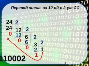 Перевод числа из 10-ой в 2-ую СС 24 24 12 6 3 1 110002 0 2 12 0 2 6 0 2 2 1 2