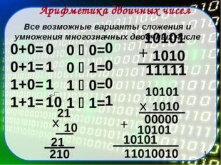 Все возможные варианты сложения и умножения многозначных двоичных числе Арифм